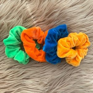Bright Velvet Hair Scrunchies - 4 Total